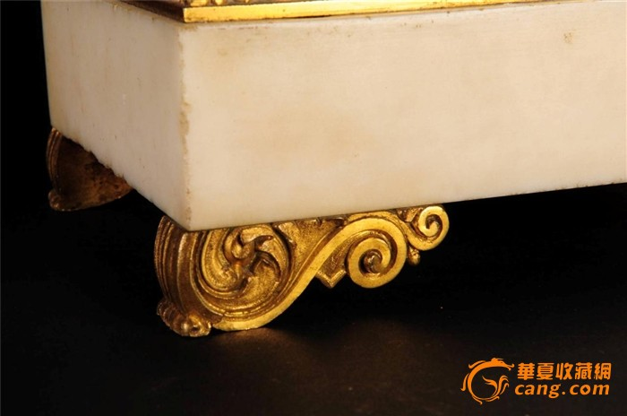 法国大理石/青铜镀金小天使壁炉钟/西洋古董钟表