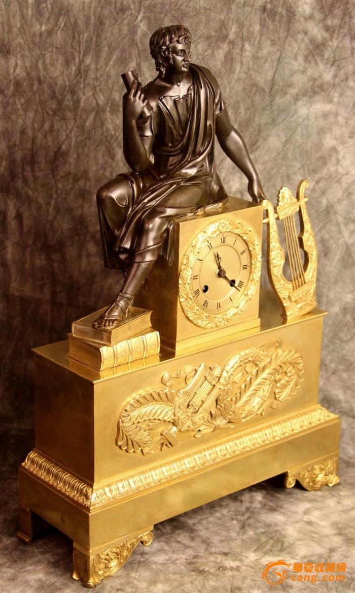 法国西洋古董铜器钟表-欧式鎏金铜雕物大座钟约1840