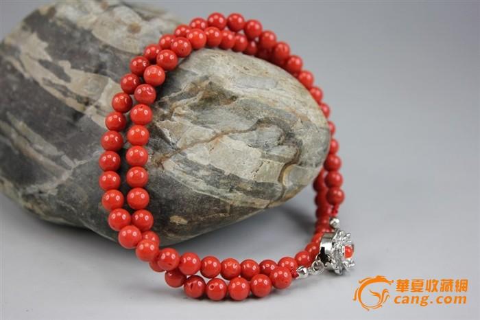 来自台湾海峡天然红珊瑚圆珠项链