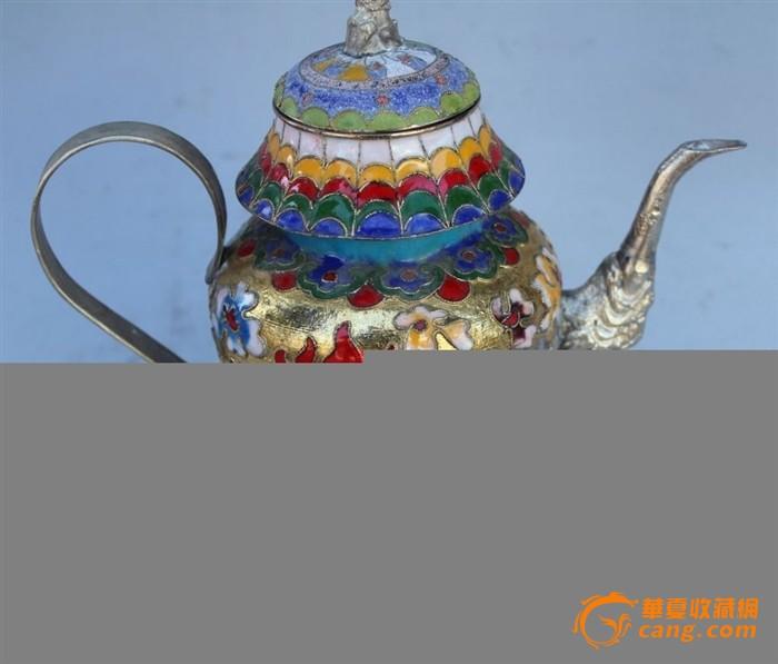苗银瓷茶壶摆件景泰蓝铜胎掐丝珐琅图1