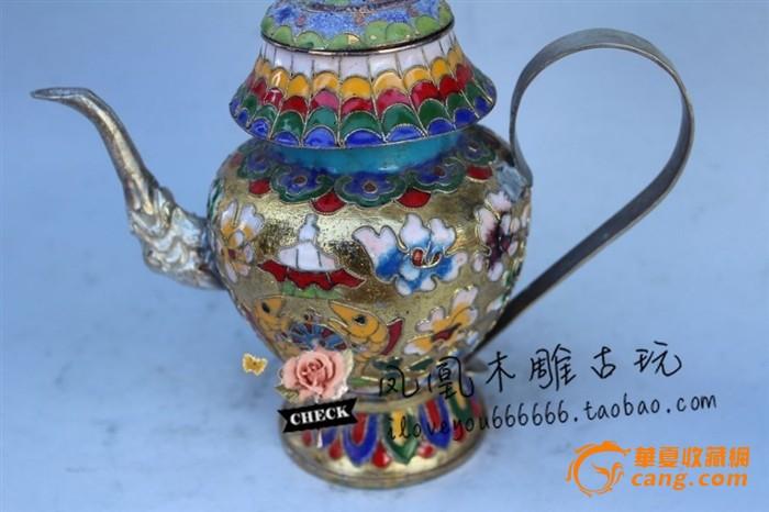 苗银瓷茶壶摆件景泰蓝铜胎掐丝珐琅图5