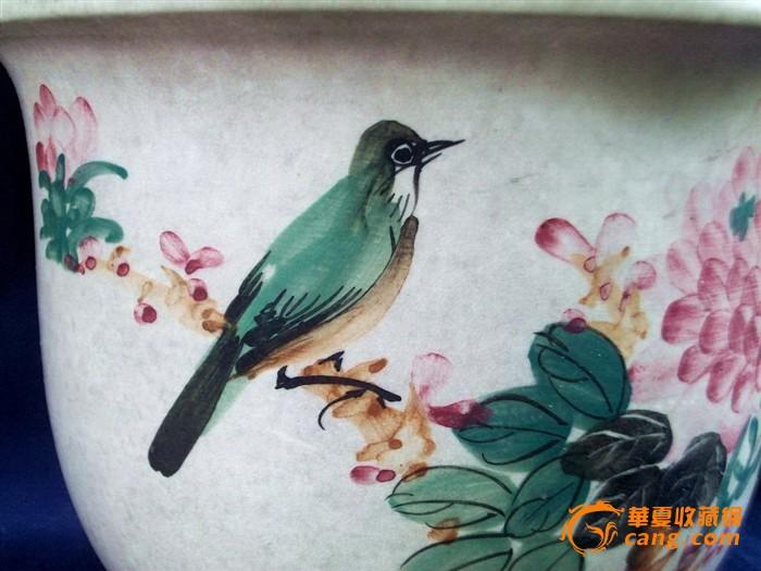 漂亮的,手绘花鸟花盆(全品)