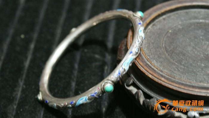 4558 民国 银烧蓝嵌绿松石手镯图1
