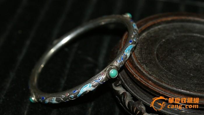4558 民国 银烧蓝嵌绿松石手镯图2