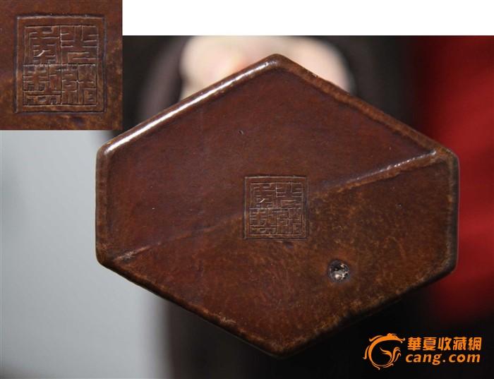 清代鲍器六角花鸟笔筒图8