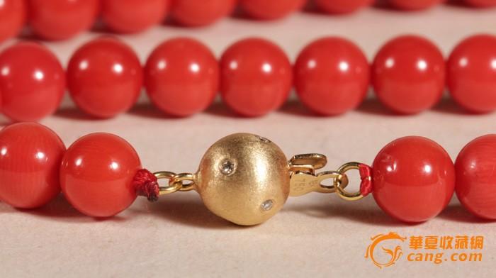 意大利沙丁红珊瑚圆珠项链6--7mm 18k金口镶钻