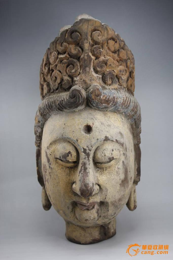 清代好包浆美开脸木雕描漆观音头像摆件