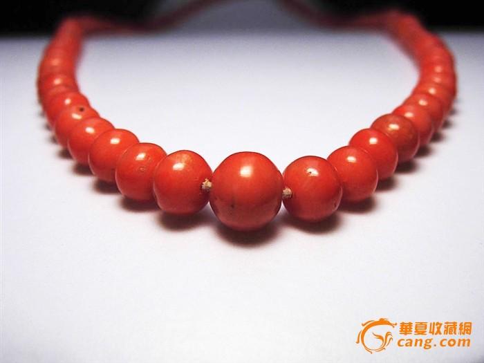 德国极品天然沙丁红珊瑚古董圆珠项链*新年酬宾重礼特
