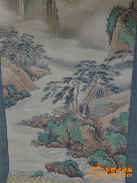 清 画家黄山寿《仙山云海奇松瀑布》风景画图5