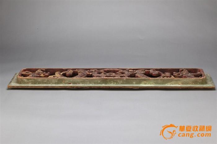 清代木雕描金螭龙纹双层花板一对520