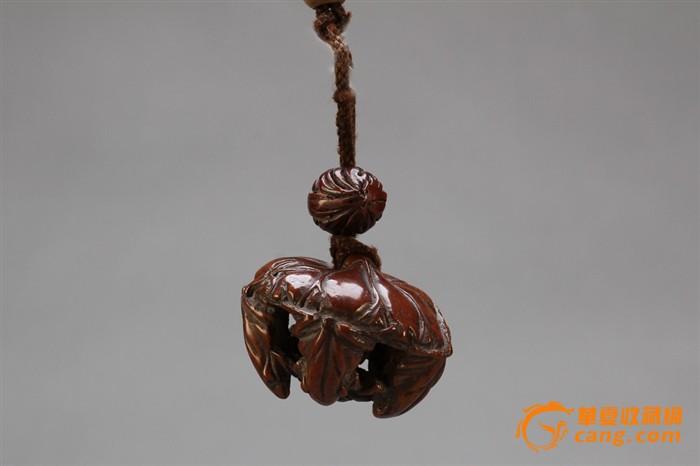 清早期美包浆黄杨木雕青蛙挂件s727