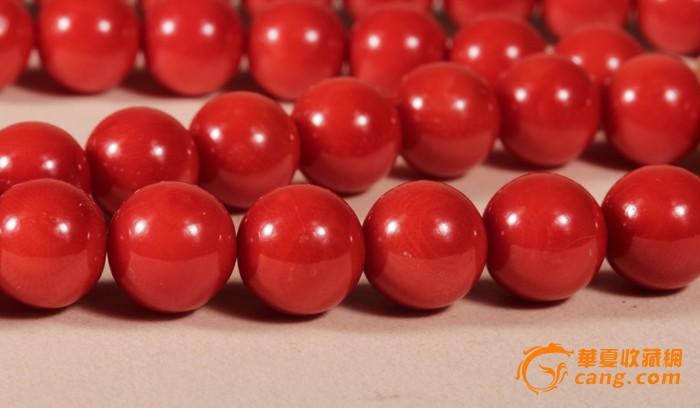 意大利沙丁红珊瑚圆珠项链 8--9mm 18k金钻扣