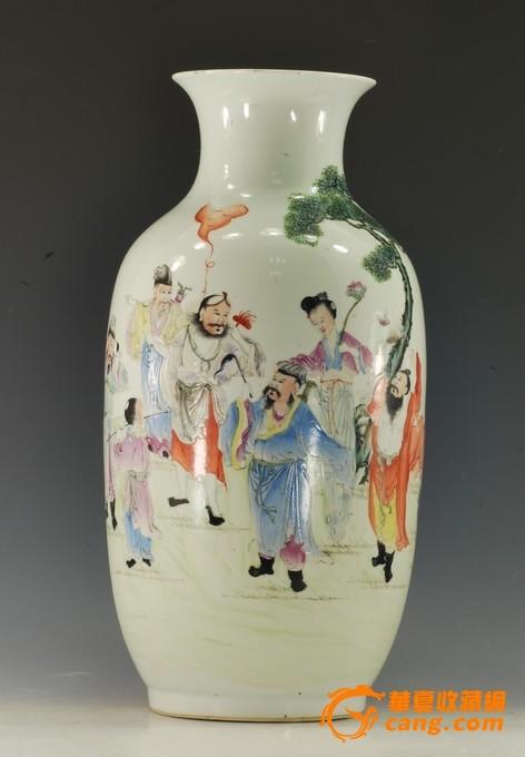 民国八仙人物纹灯笼瓶-图2