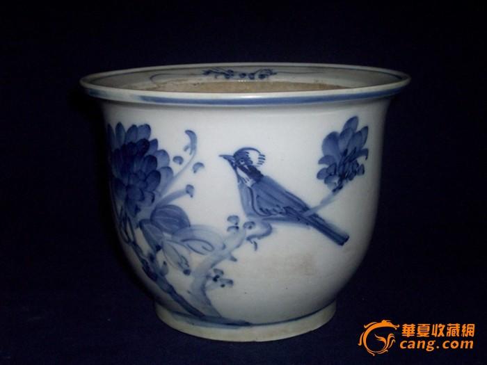 漂亮,釉下彩手绘花鸟花盆(全品)