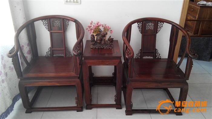 老挝大红酸枝皇宫椅一对,做面独板