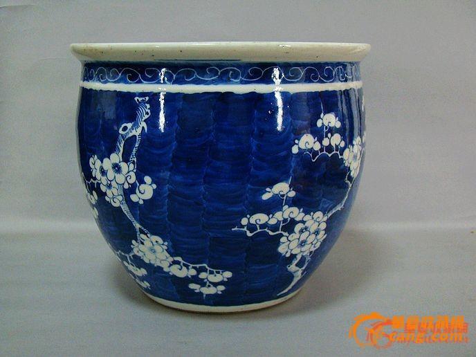 【包老】清 青花梅花水缸