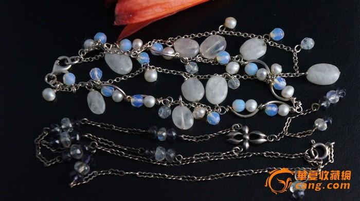 欧洲天然珍珠水晶月光石银项链 手链