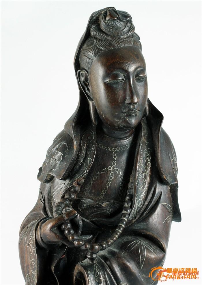 清中期 硬木 雕 镶银丝 观音-图1