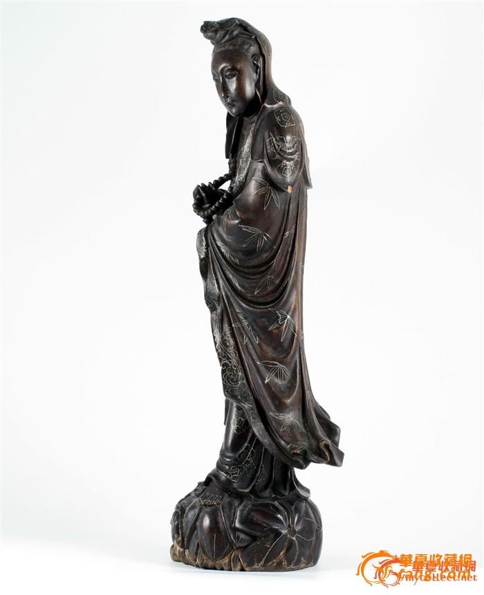 清中期 硬木 雕 镶银丝 观音-图3