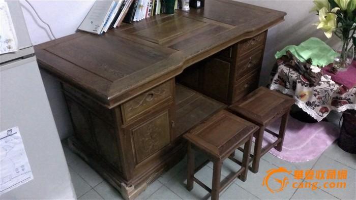 鸡翅木原木办公桌附2张椅子