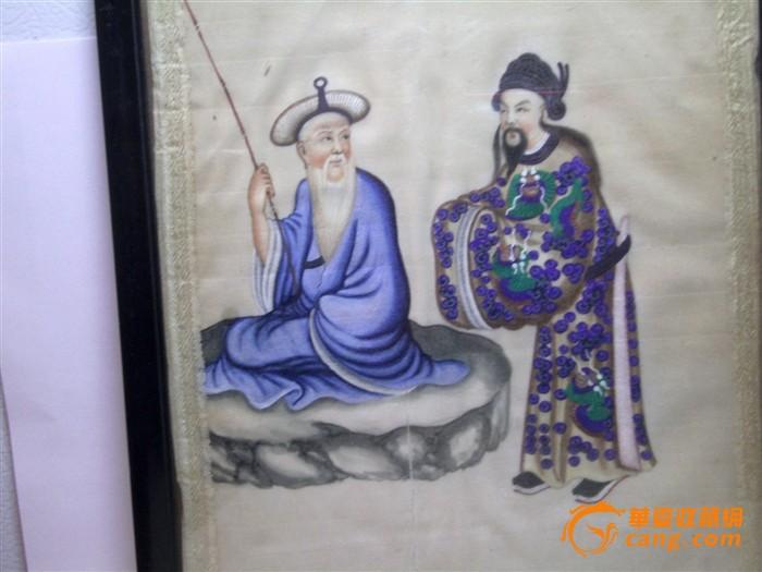 通草画:渭水求贤图2