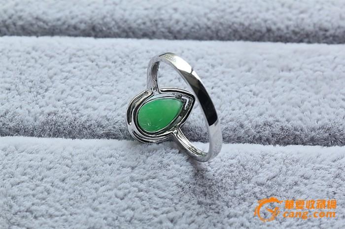 甜嫩阳绿水滴戒指 18k金天然钻石 缅甸a货翡翠 1788