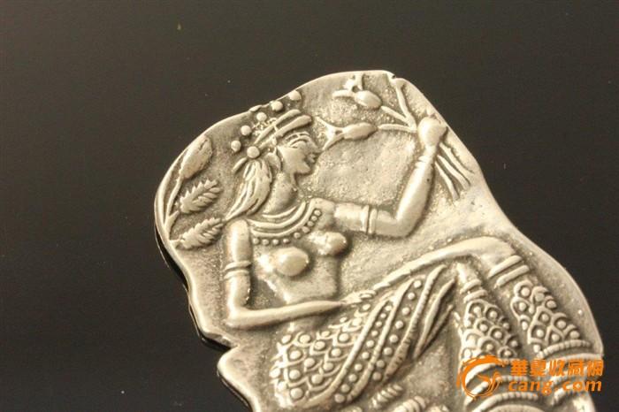 欧洲老纯银希腊女神浮雕胸针