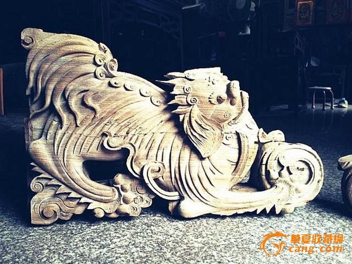 东阳木雕清中期凶悍狮子一对