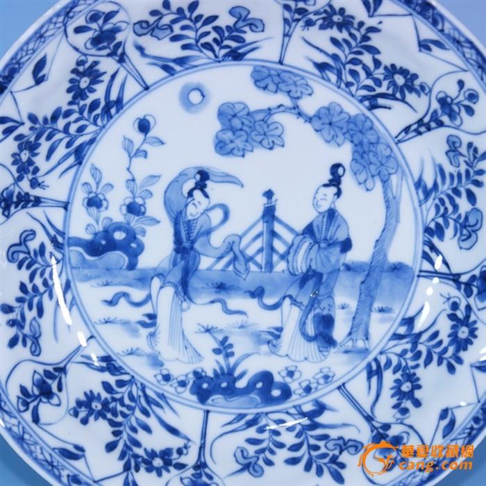 清代各种杯子七只(含碟子一个) 青花植物花卉纹大碗23.