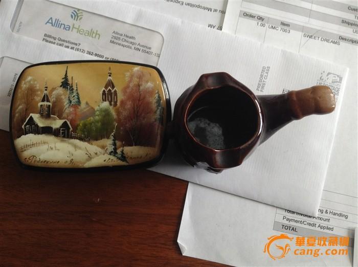 老苏联大师手绘漆器烟盒 日本酱釉烟台一个