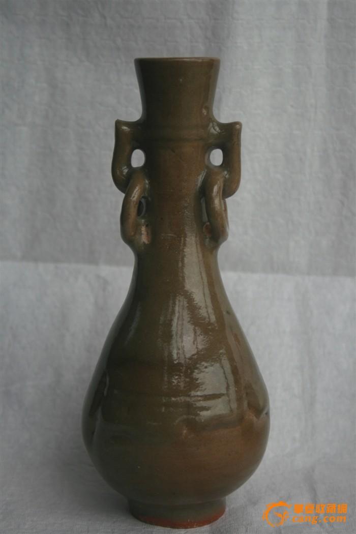宋代龙泉青釉衔环双耳瓶一对图2