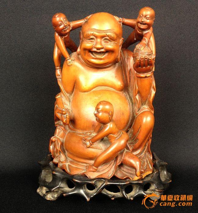 民国 黄杨木佛-图1