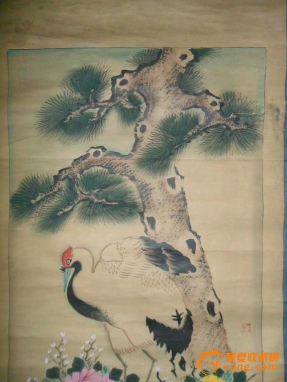 无款设色《松鹤牡丹石头图》
