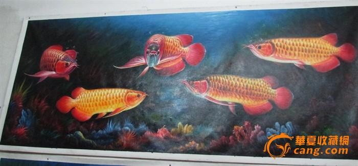 名家巨幅布面油彩手绘油画金龙鱼五龙至尊