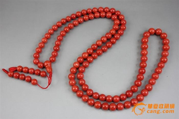 天然深海均匀一色红珊瑚7咪圆珠项链(附证书)
