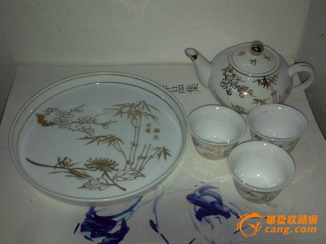 文革精美手绘金彩茶具