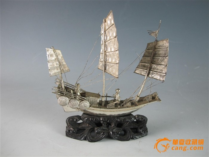 西洋银制帆船摆件
