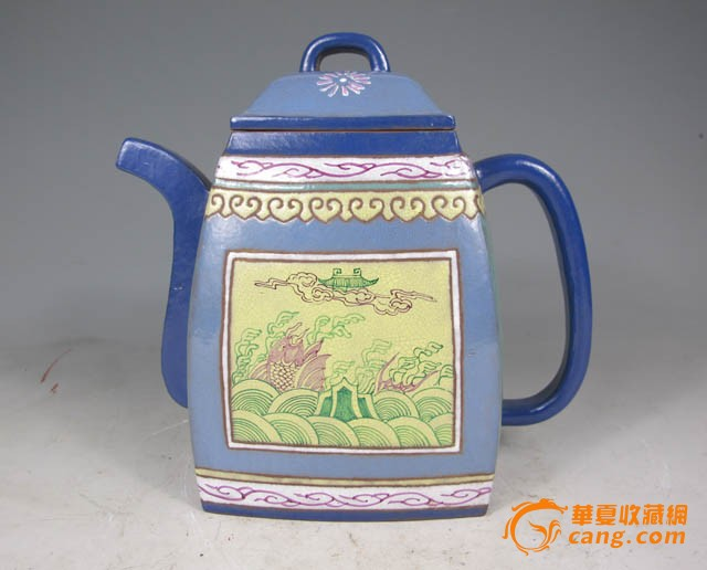 清代 粉彩鲤鱼跃龙门花卉汉方紫砂壶