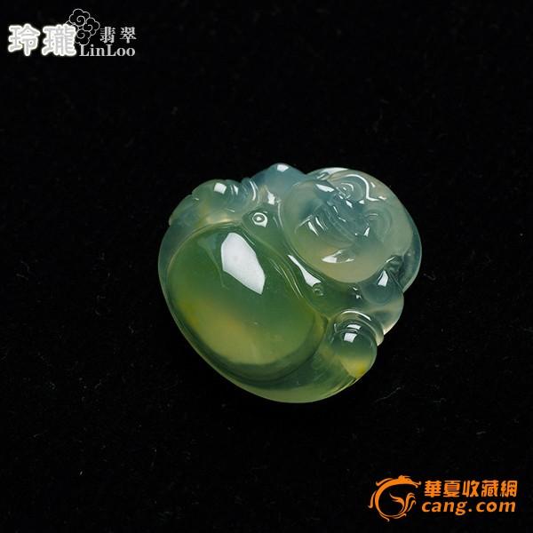 浅黄玻璃种翡翠笑佛挂件-5DX04图1