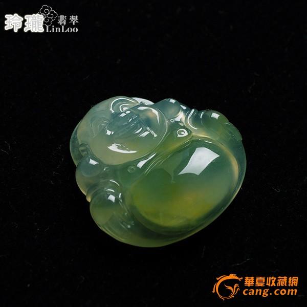 浅黄玻璃种翡翠笑佛挂件-5DX04图5