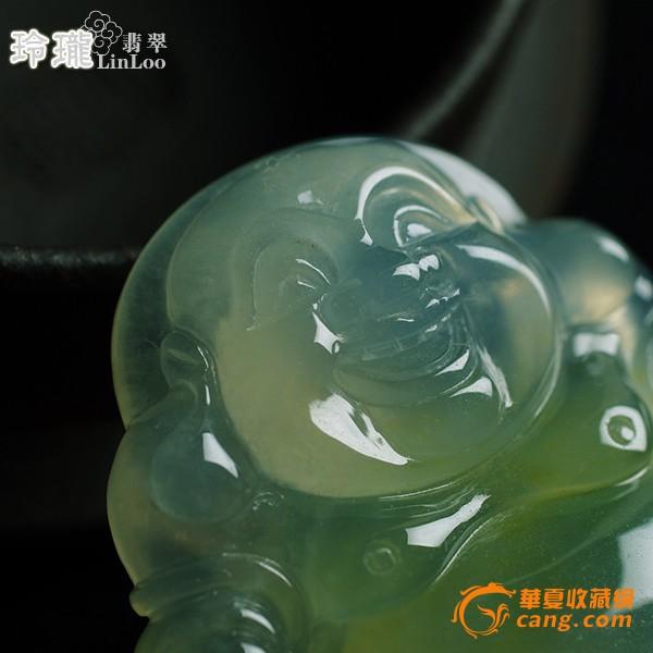 浅黄玻璃种翡翠笑佛挂件-5DX04图2