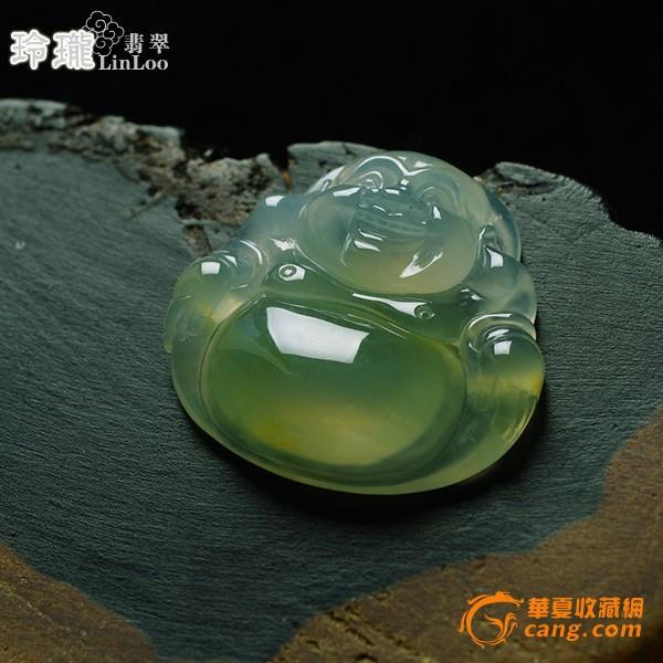 浅黄玻璃种翡翠笑佛挂件-5DX04图3