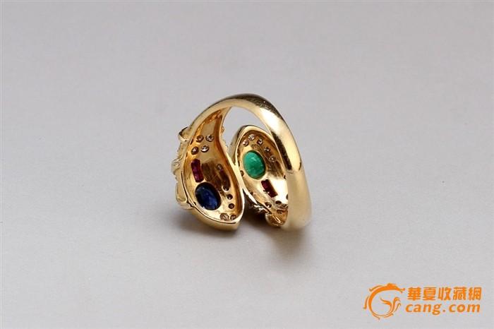14hk 台湾回流,天然宝石戒指,拍卖会所得,设计精品,仿双眼造型,镶嵌