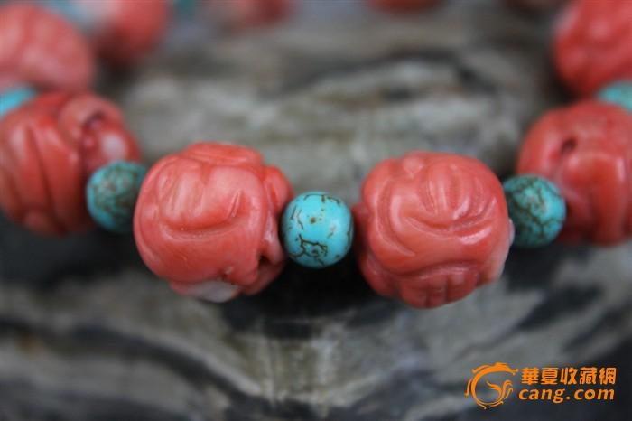 清代老珊瑚雕花绿松圆珠手串(cll140330-04)