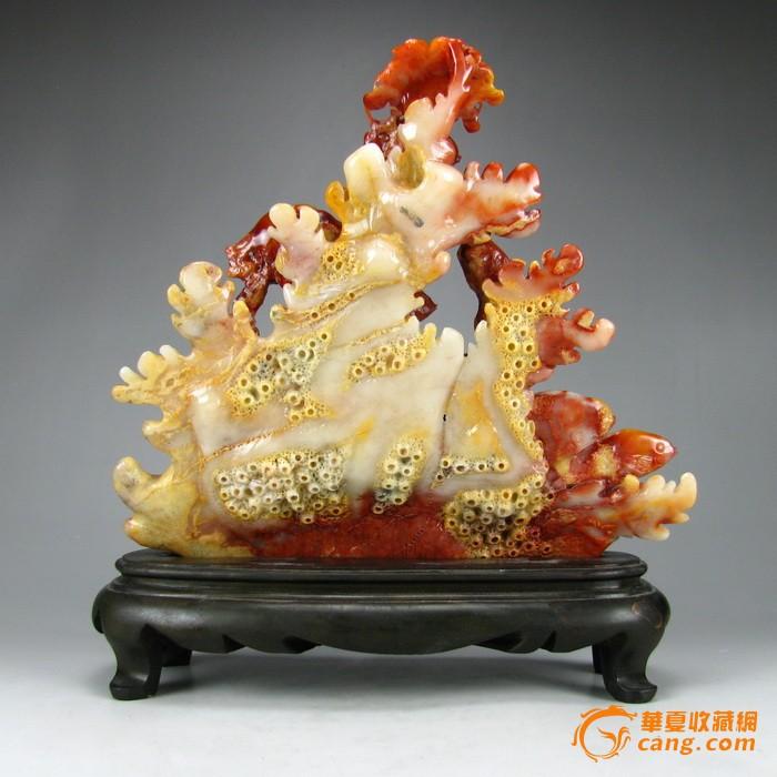 顶级天然寿山石芙蓉石俏色雕 海底世界 送底座