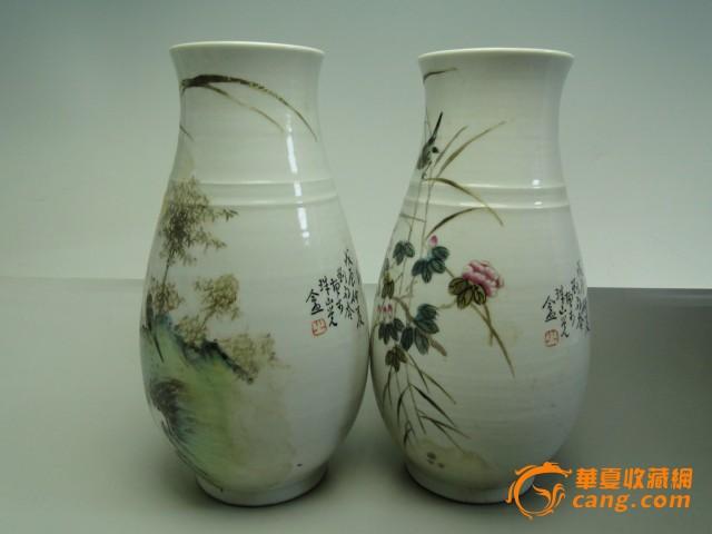 景德镇老陶瓷器手绘摆件花瓶子民国刘雨岑花鸟瓶一对