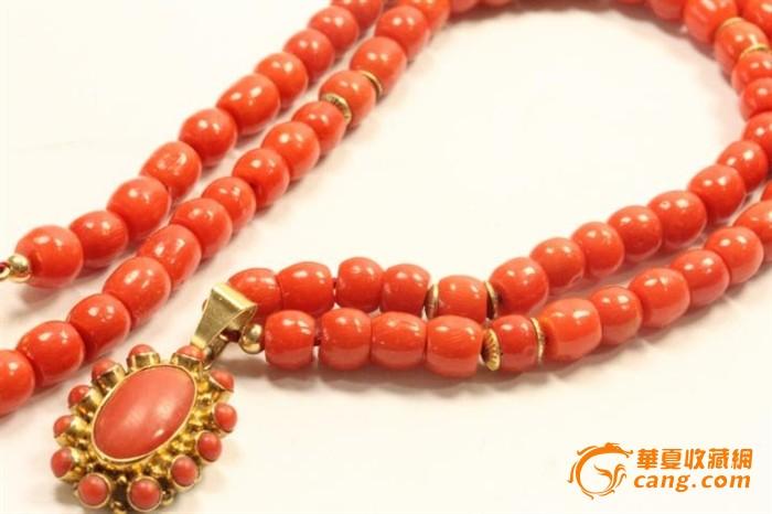 欧洲老首饰 地中海手工制作红珊瑚14k金项链 稀有高雅