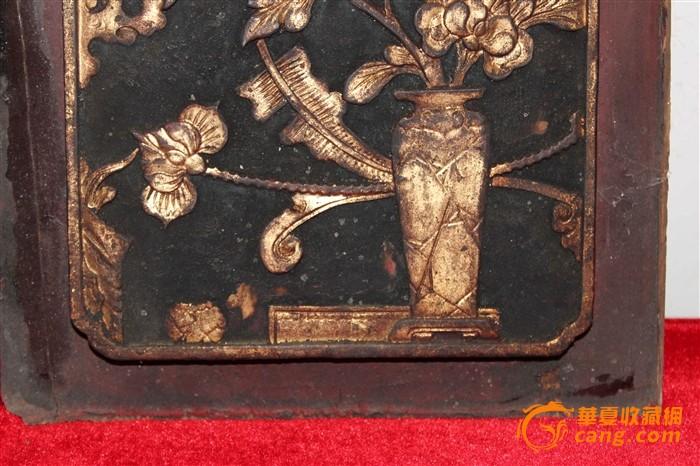 清代镀金花瓶卷书木雕一对399元