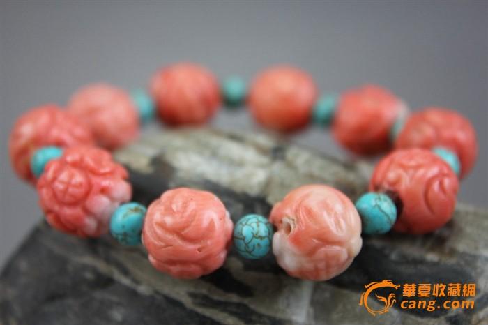清代老珊瑚雕花绿松圆珠隔串手串