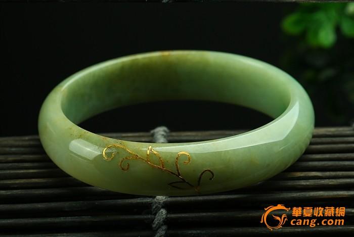 描金翡翠a货贵妃手镯,黄翡翠阳绿,极具典雅复古